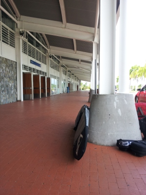 Waiting for the rental car at Tortola's airport.