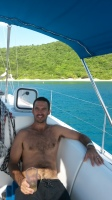 Relaxing at White Bay, Peter Island