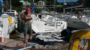 getting the dinghy ready