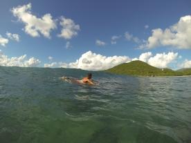 Our first surf aboard Ondular in Virgin Gorda