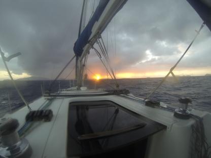 Sunrise when crossing from Tortola to Virgin Gorda
