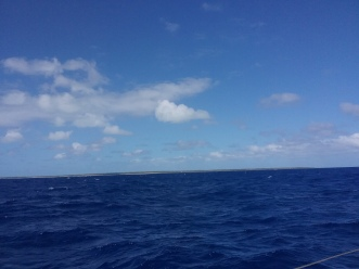 Atolls seen from a distance of 8 miles